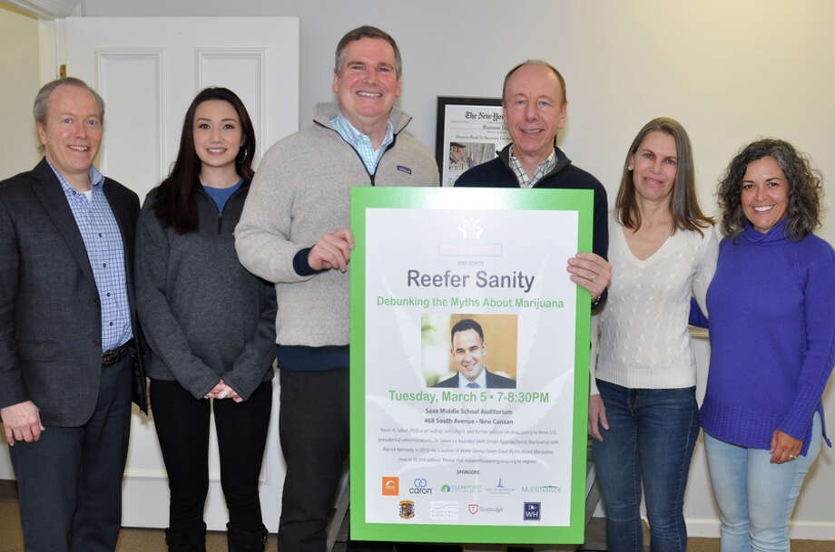 The New Canaan Parent Support Group and community organizations will host Reefer Sanity: Debunking the Myths About Marijuana with Kevin Sabet, Ph.D., on Tuesday, March 5, at 7 p.m. at Saxe Middle School, in the auditorium. (left to right) Leo Karl, New Canaan Community Foundation; Tiffany Mongillo, Aware Recovery Care; John Hamilton, Liberation Programs; Paul Reinhardt, New Canaan Parent Support Group; Jenny Urbahn, New Canaan Parent Support Group and Cyra Borsy, St. Mark's Episcopal Church. — Valerie Stryker / Contributed photo