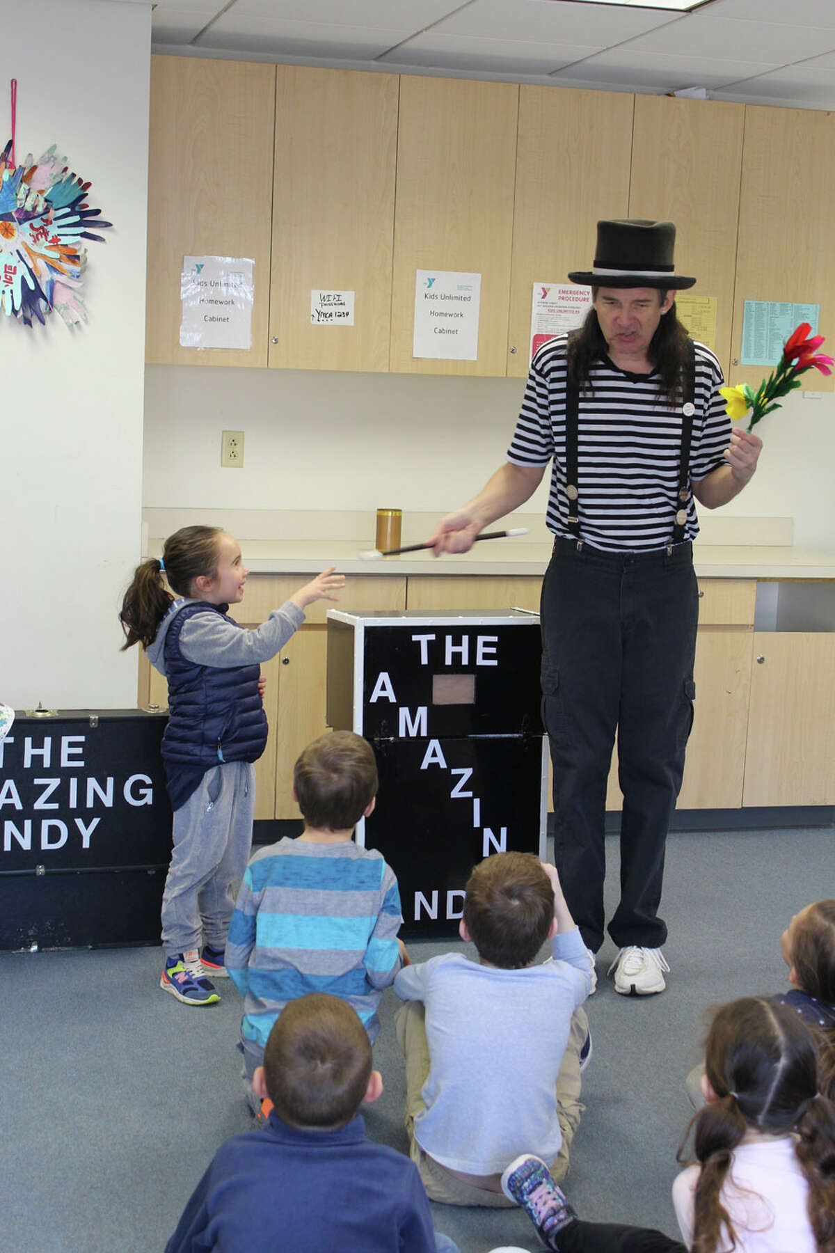 Vacation Camp at the New Canaan YMCA was well attended by school children who enjoyed fun activities including a visit from The Amazing Andy and his furry friend, Silly Willy the rabbit, to do magic tricks.