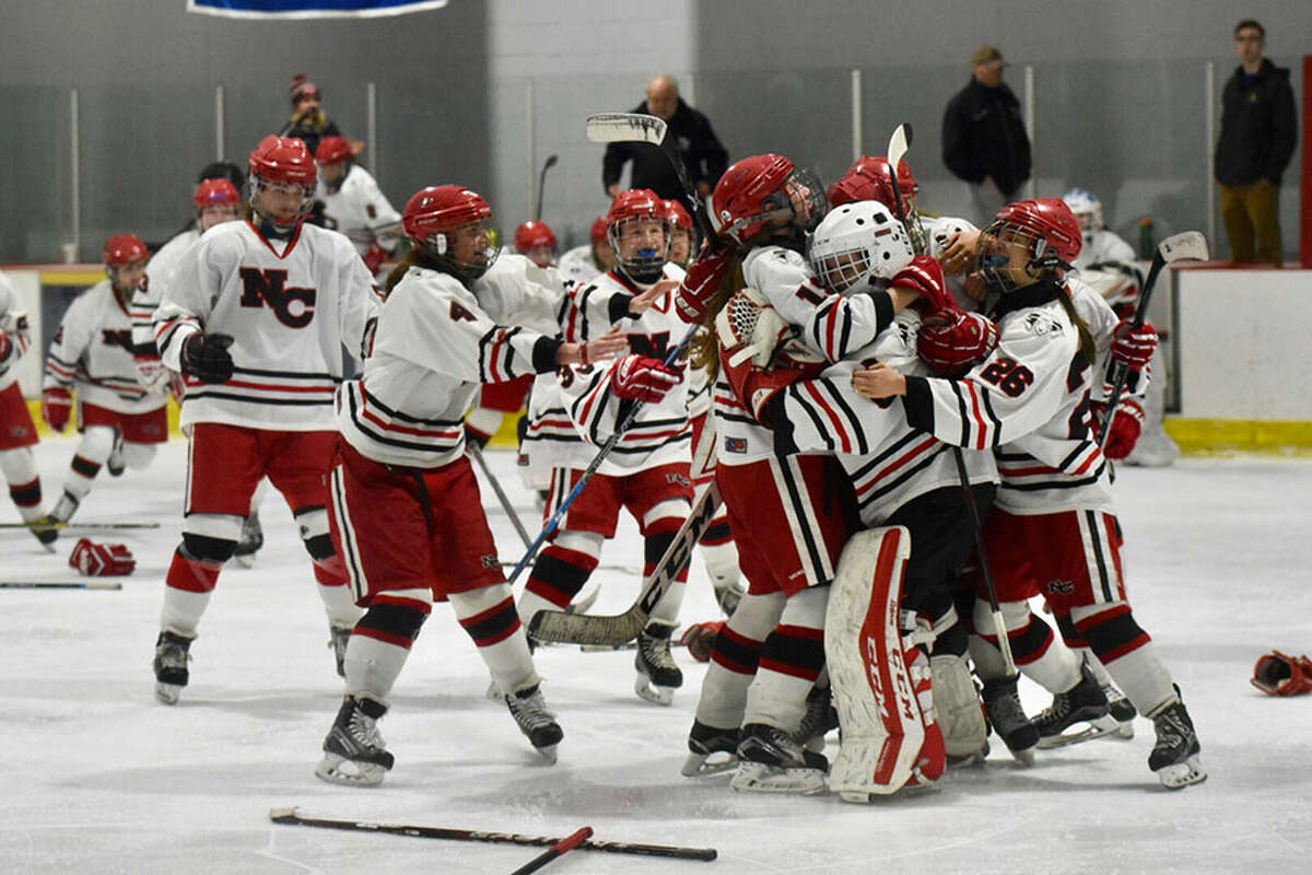 The New Canaan Rams celebrate after defeating Greenwich 3-1 to win the FCIAC girls hockey championship at the Darien Ice House on Saturday, Feb. 23. - Dave Stewart/Hearst Connecticut Media