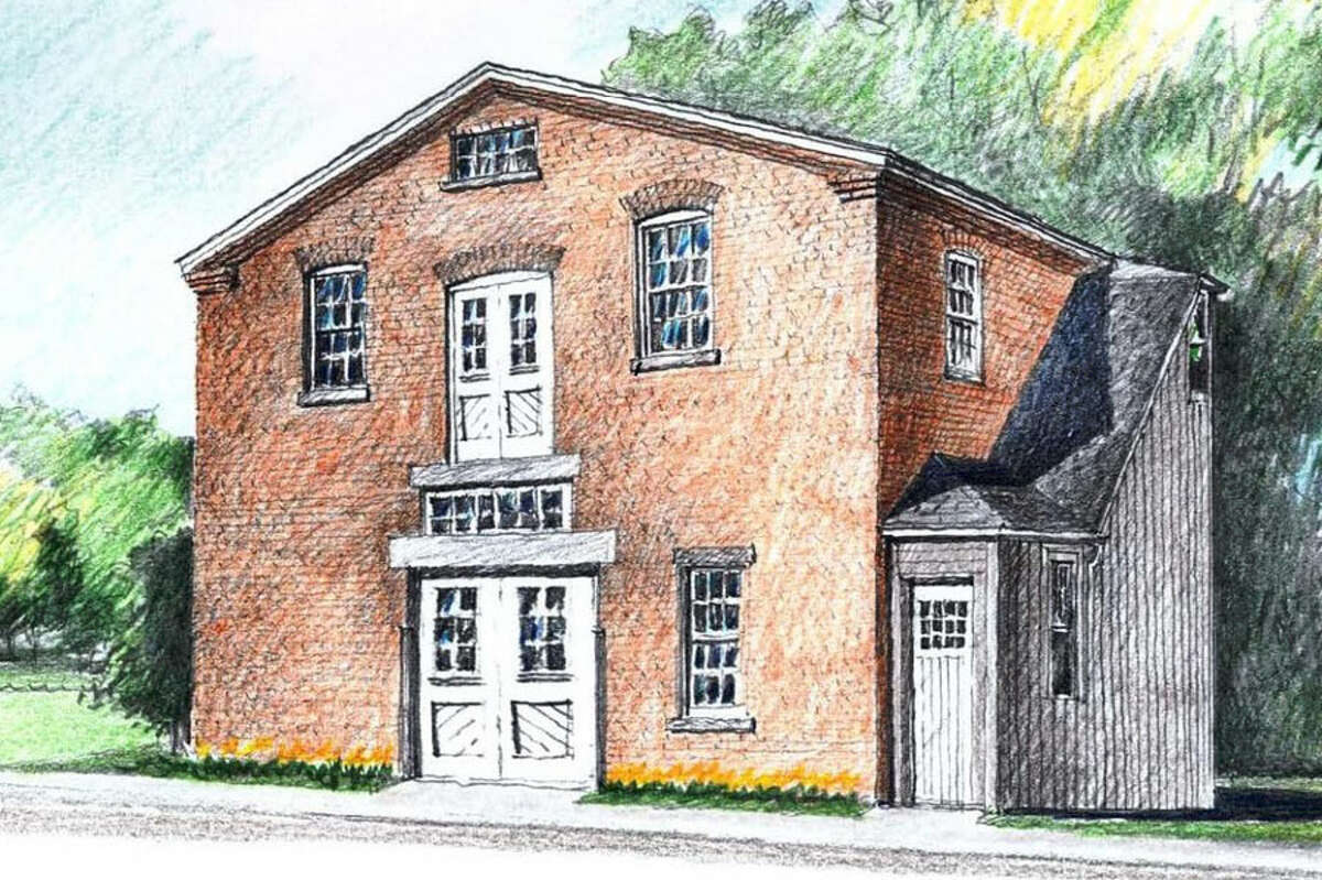 The fate of the Mead Park barn has been sent back to the Town Council. A rendering of the brick barn in Mead Park after proposed renovations are completed.