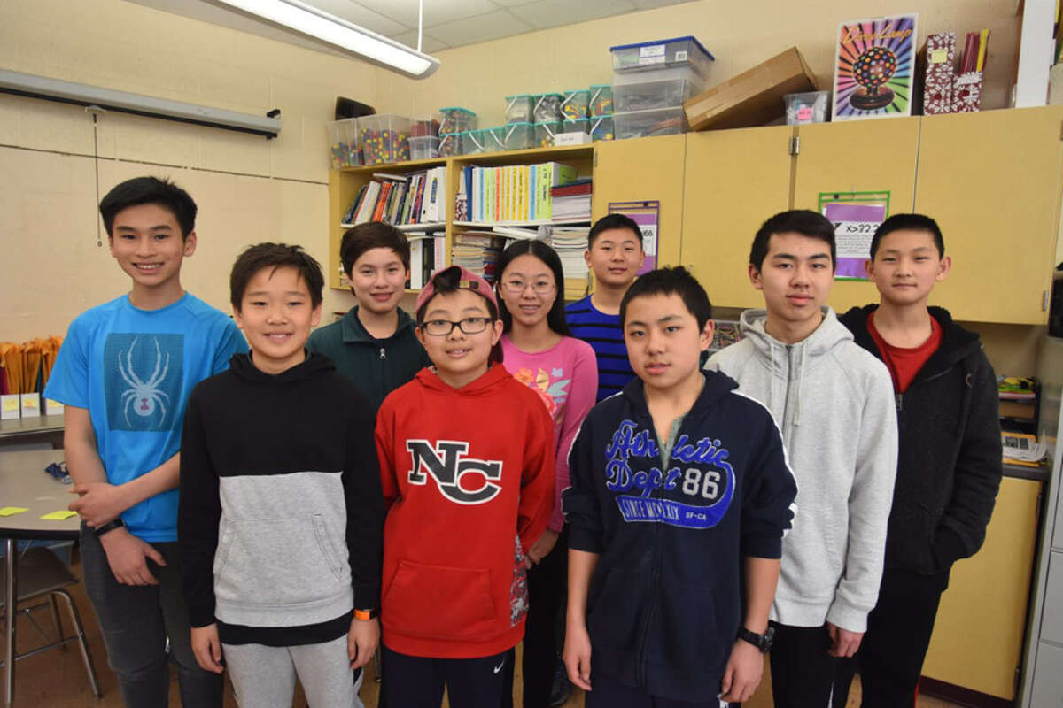 A group of Saxe Middle School math students scored high marks in the Southwest Connecticut Chapter MATHCOUNTS Competition 2019 on Feb. 9, Lucas Liu (8), Eric Huang (6), Daryl Lavin (7), Christian Xia (6), Amy Meng (6), Luke Huang (7), Andrew Yuan (6), Alex Yuan (8), and Kevin Zuo (7). Student Sahil Teredesai (7), not shown, also competed.