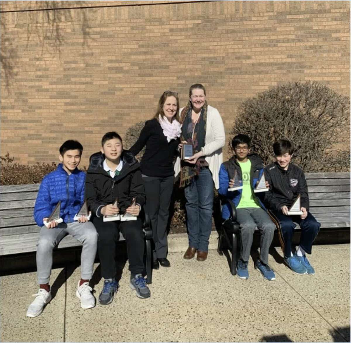 In Team Competition, Saxe Middle School finished in third place, and the team of four students, Lucas Liu, Luke Huang, Sahil Teredesai, and Daryl Lavin, with Zoe Robinson, NCPS K-8 math coordinator, and Lisa Wolff, Saxe Middle School math teacher, will advance to the state competition.