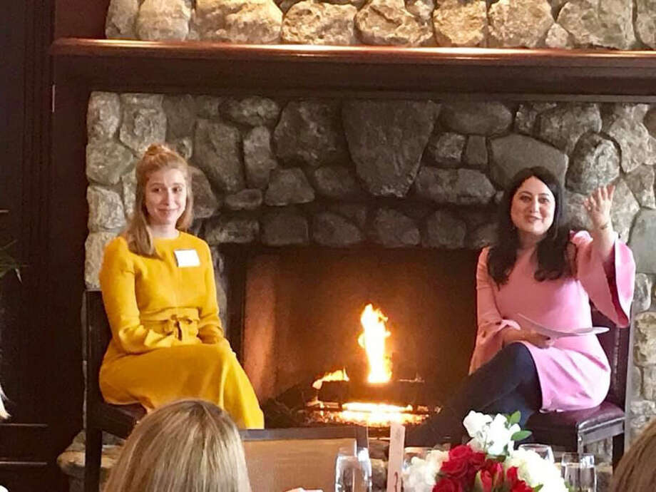 Above: Founder and Executive Director and New Canaan resident Shiva Sarram held a fireside chat with Blossom Hill Fellow Lexi Shereshewsky who opened a school for refugees in Azraq, Jordan. With support from Blossom Hill at the Feb. 7 Blossom Hill Luncheon in Darien. Below: Megan Couch, Susan Barr, Lori Mercede, Shiva Sarram, founder and executive director, Lauren Stone and Deena Youngs attend the Blossom Hill Annual Luncheon at Woodway Country Club on Feb. 7.