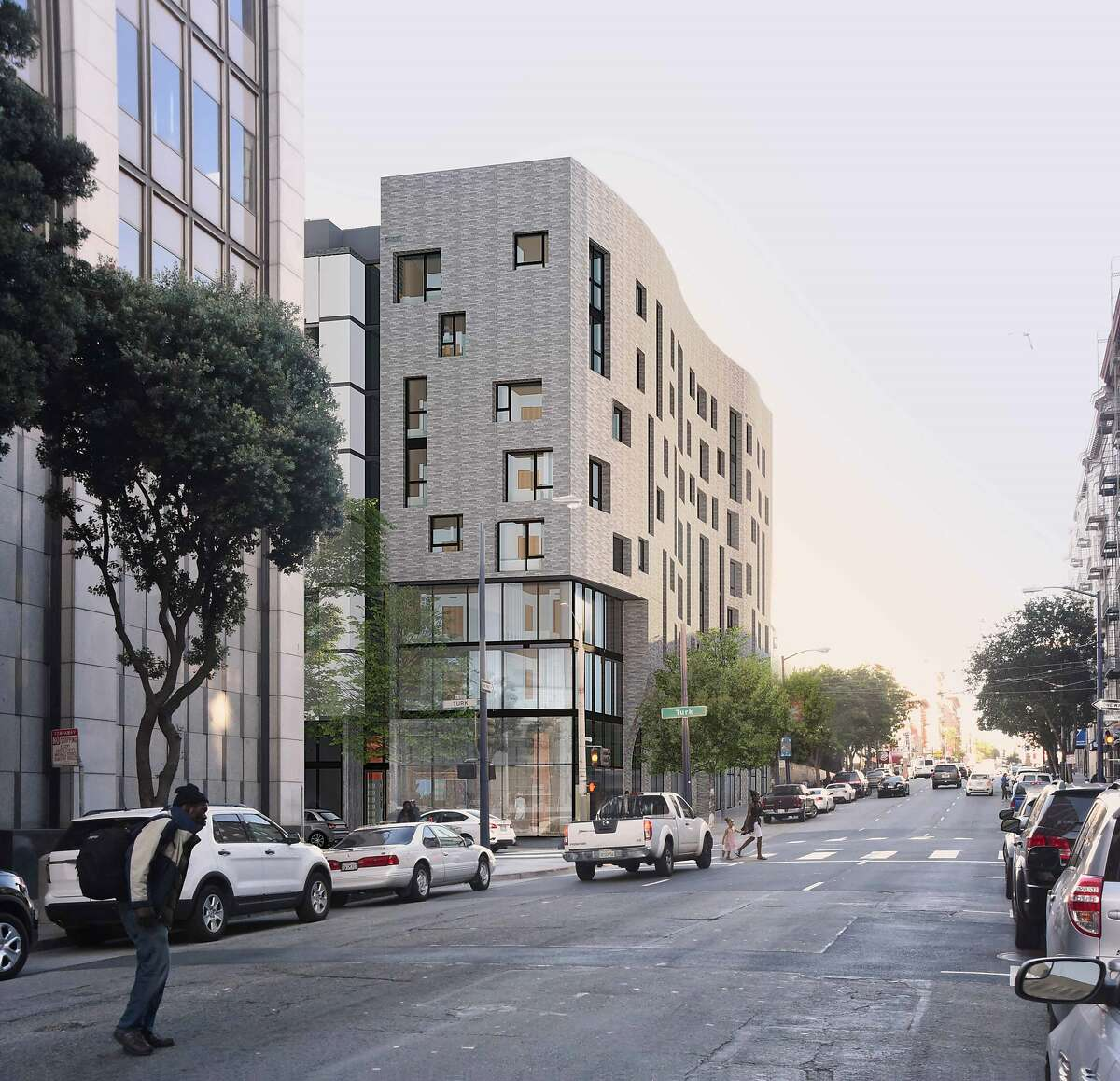 An artist's rendering depicts a view of the affordable housing development to be constructed at 500 Turk Street in San Francisco.