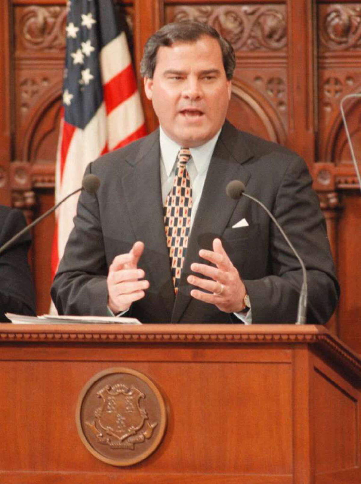 File 01/08/97: Governor John Rowland delivers his State of the State address to members of the state Legislators. Photo: File Photo/Erik Trautmann / File Photo