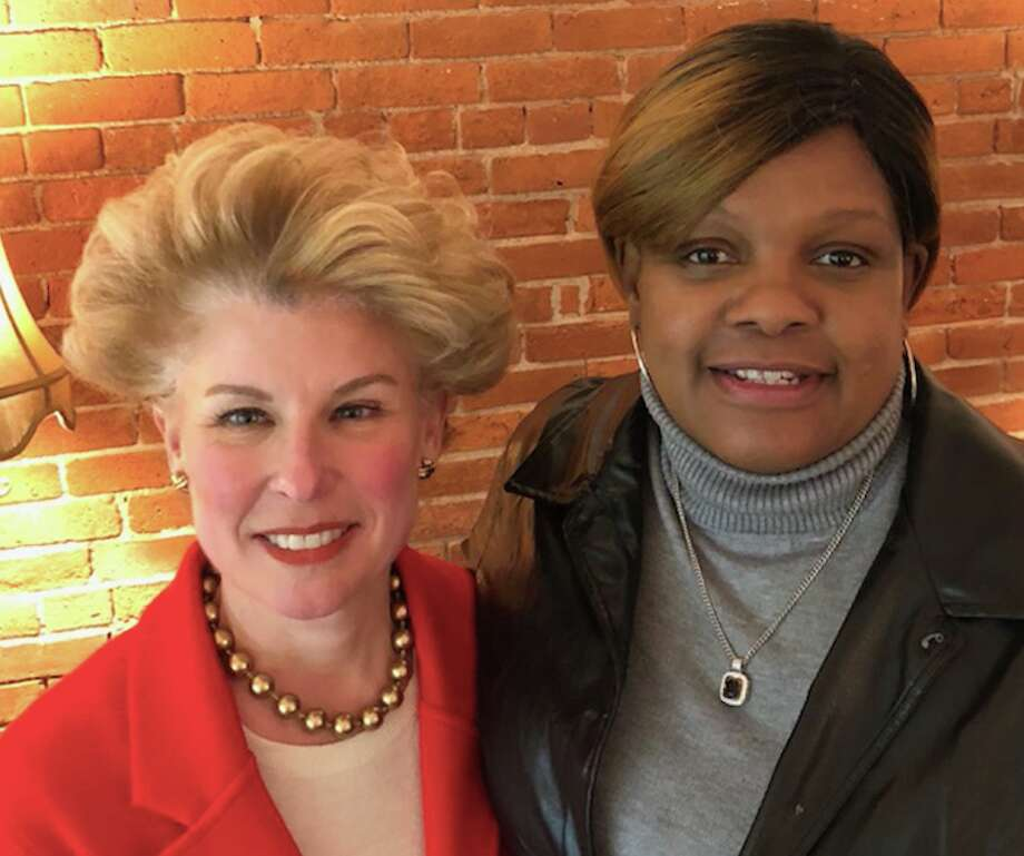 Carol Platt Liebau, of New Canaan, president of The Yankee Institute, received a Moral Courage Award from the Connecticut Parents Union, represented by its president, Gwen Samuel, on Dr. Martin Luther King Jr. Day.
