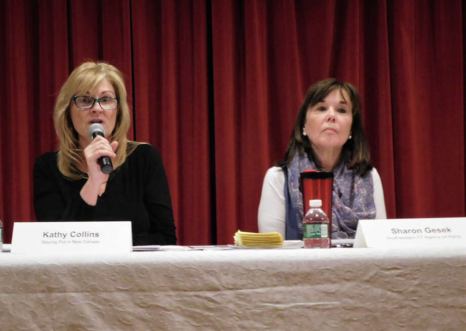 Kathy Collins, a licensed social worker at Staying Put in New Canaan, discusses healthy aging during a Jan. 16 forum at the New Canaan Library. At right is Sharon Gesek of the local Agency on Aging. — Brad Durrell photo