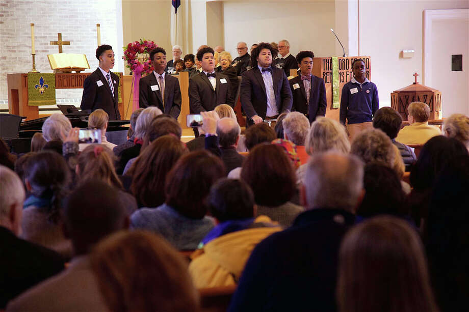 "Students from ABC House in New Canaan sing ""Glory"" by John Legend at the 17th annual Interfaith Service for Martin Luther King, Jr., at United Methodist Church, Monday, Jan. 21, 2019, in New Canaan, Conn. Jarret Liotta / Hearst Connecticut Media / New Canaan News Freelance"