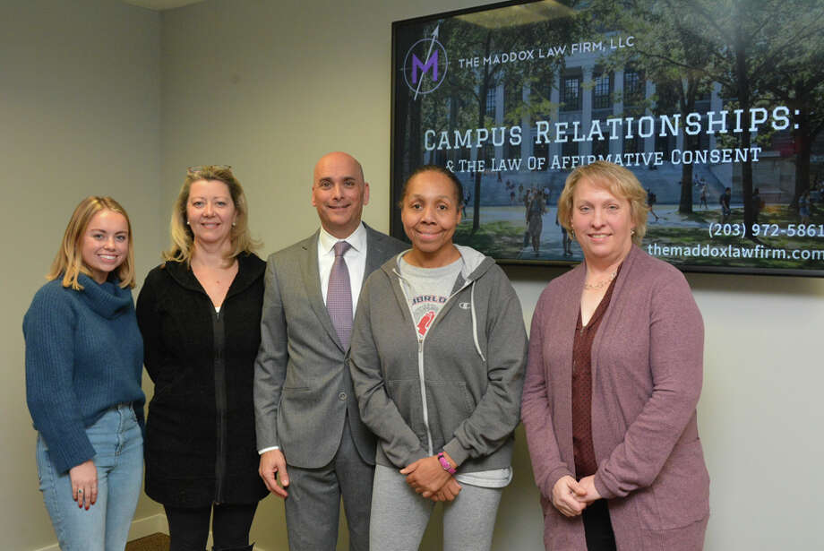 "Attorney Matthew Maddox covered Campus Relationships and the Law of Affirmative Consent: Navigating Romance and Risk when Only ""Yes Means Yes"" Jan. 10. Maddox, center, is shown with attendees, Catherine Gorey, Boardie Kurz, Sonia Bell and Norma Fox."