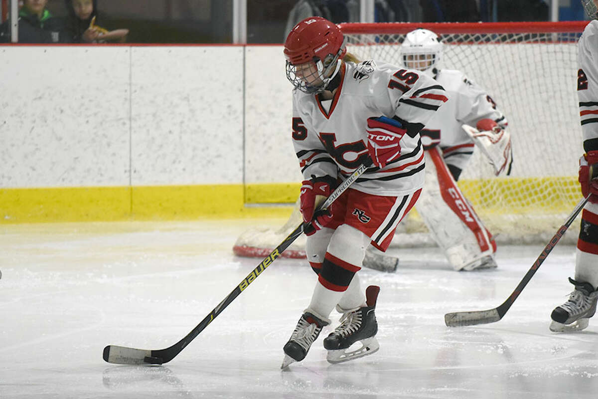 New Canaan's Caitlin Tully was one of 11 Rams with points during New Canaan's 5-0 shutout of the Trumbull/St. Joseph co-op on Friday night in Shelton. - Dave Stewart photo