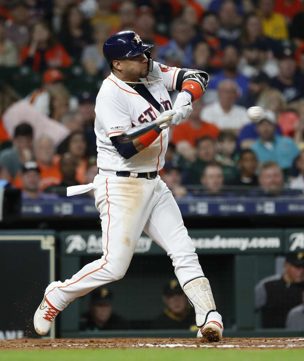 Houston Astros first baseman Yuli Gurriel (10) hits a two-run home run off of Pittsburgh Pirates starting pitcher Trevor Williams during the fourth inning of an MLB baseball game at Minute Maid Park, Tuesday, June 25, 2019.