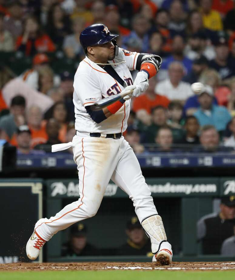 Houston Astros first baseman Yuli Gurriel (10) hits a two-run home run off of Pittsburgh Pirates starting pitcher Trevor Williams during the fourth inning of an MLB baseball game at Minute Maid Park, Tuesday, June 25, 2019. Photo: Karen Warren/Staff Photographer