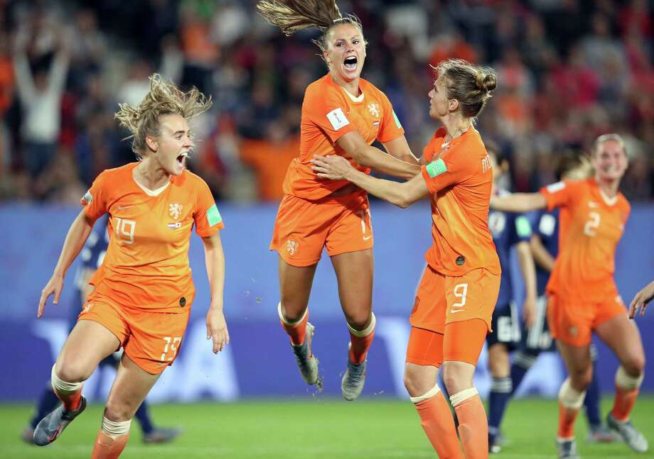 Netherlands' Lieke Martens, center, celebrates after scoring her side's second goal from the penalty spot during the Women's World Cup round of 16 soccer match between the Netherlands and Japan at the Roazhon Park, in Rennes, France, Tuesday, June 25, 2019. (AP Photo/David Vincent) Photo: David Vincent / Copyright 2019 The Associated Press. All rights reserved