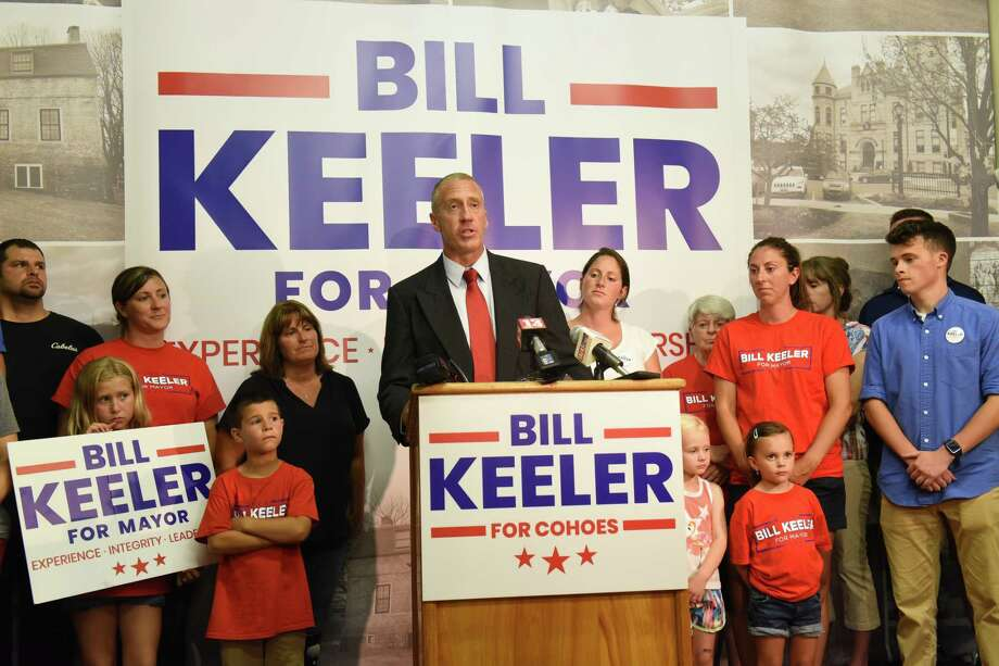 Bill Keeler give a victory speech in the primary race for Cohoes Mayor on Tuesday June 25, 2019 in Cohoes, N.Y. (Lori Van Buren/Times Union) Photo: Lori Van Buren, Albany Times Union / 20047318A