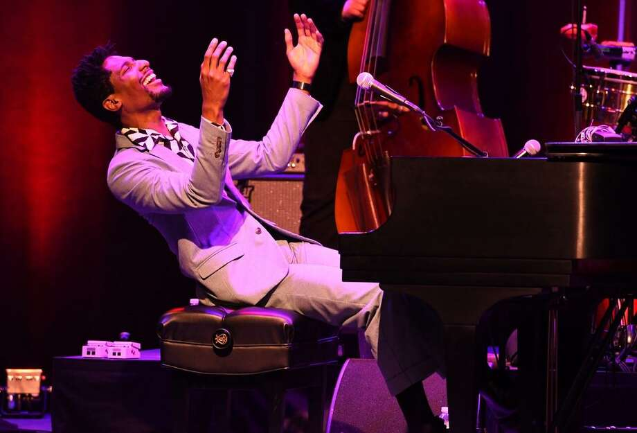 """Musician, bandleader, and television personality, Jon Batiste, performsat the Ridgefield Playhouse on June 21st as part of the venue's """"Summer Gala"""" event. Jon, along with his band, Stay Human, thoroughly entertained the capacity crowd with stellar musicianship, great vibes and crowd interaction. To learn more about the line up of entertainment coming to the Ridgefield Playhouse go to www.ridgefieldplayhouse.com Photo: John Atashian / Contributed Photo"""