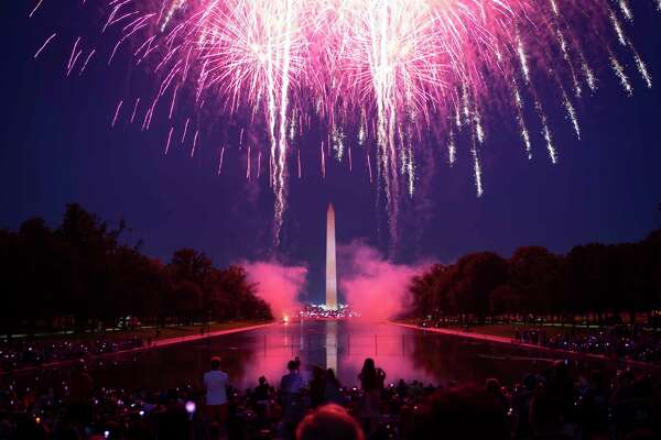 Fireworks illuminate the National Mall in celebration of Independence Day 2018 in Washington.