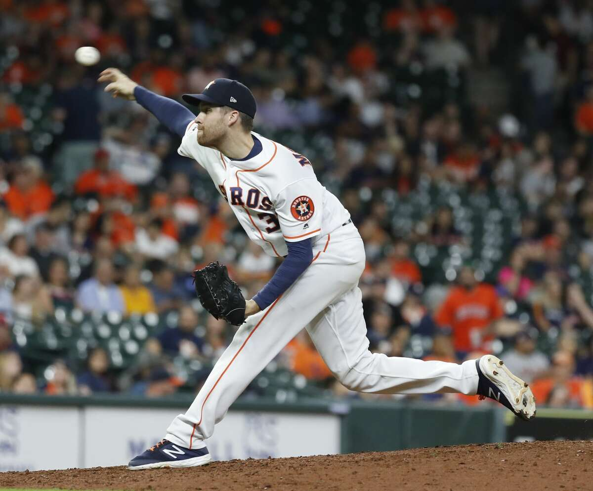 PHOTOS: 2019 Houston Astros game-by-game  Houston Astros relief pitcher Collin McHugh (31) pitches during the ninth inning of an MLB baseball game at Minute Maid Park, Tuesday, June 25, 2019. >>>See how the Astros have fared in each game this season ...