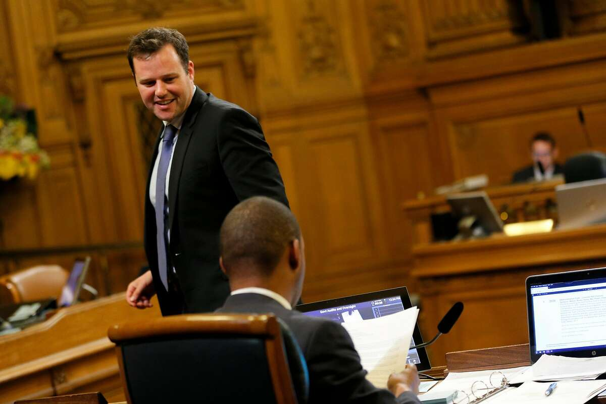 District 6 supervisor Matt Haney with District 10 supervisor Shamann Walton during a committee meeting at City Hall Thursday, May 16, 2019, in San Francisco, Calif. The S.F. Government Audit and Oversight Committee discussed ordinance that would close the city's juvenile hall by the end of 2021.