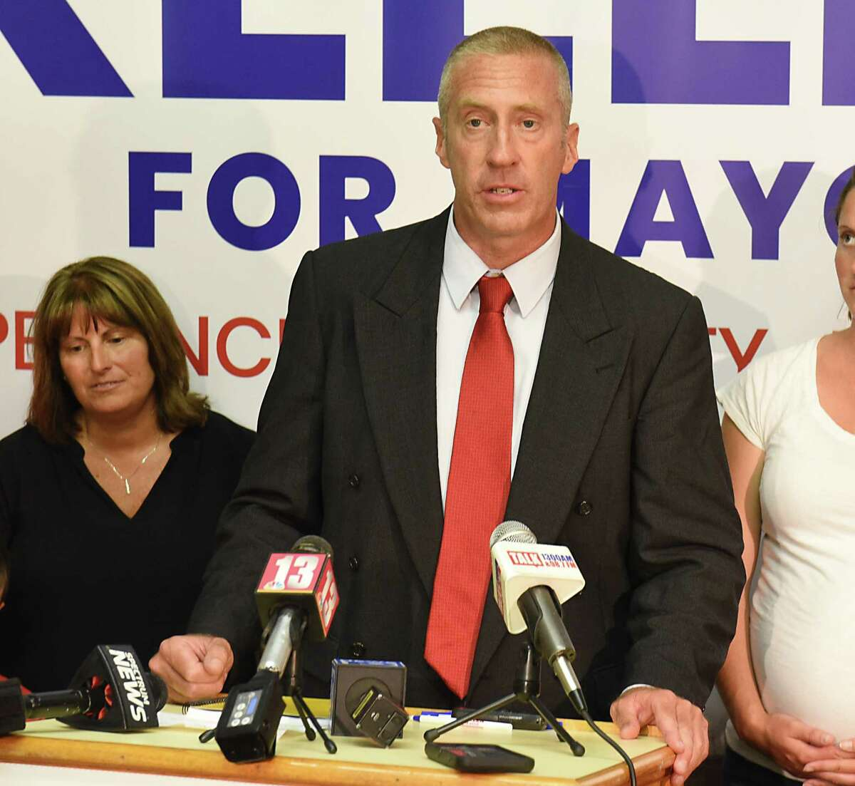 Bill Keeler give a victory speech in the primary race for Cohoes Mayor on Tuesday June 25, 2019 in Cohoes, N.Y. Keeler's wife Nancy listens on the left. (Lori Van Buren/Times Union)
