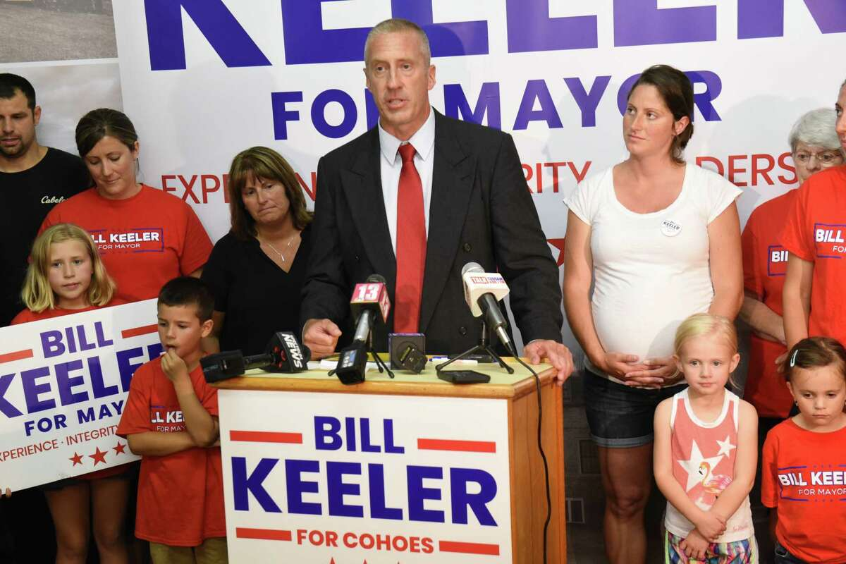 Bill Keeler give a victory speech in the primary race for Cohoes Mayor on Tuesday June 25, 2019 in Cohoes, N.Y. (Lori Van Buren/Times Union)