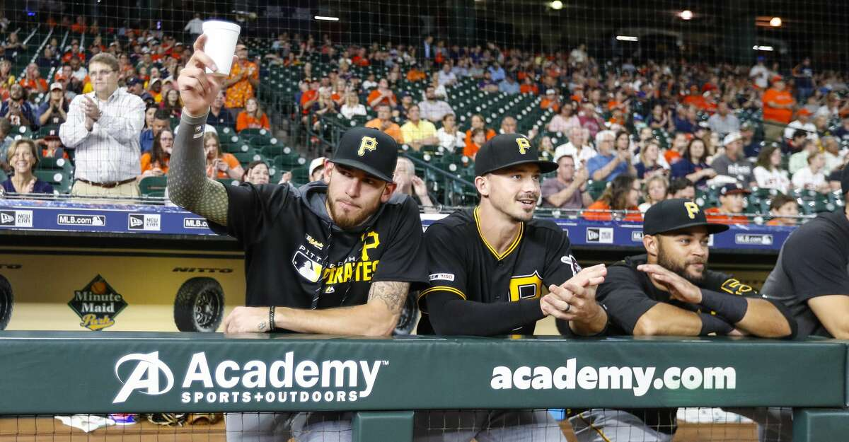 Pittsburgh Pirates pitcher Joe Musgrove is honored by the Houston Astros before the start of an MLB baseball game at Minute Maid Park, Tuesday, June 25, 2019.