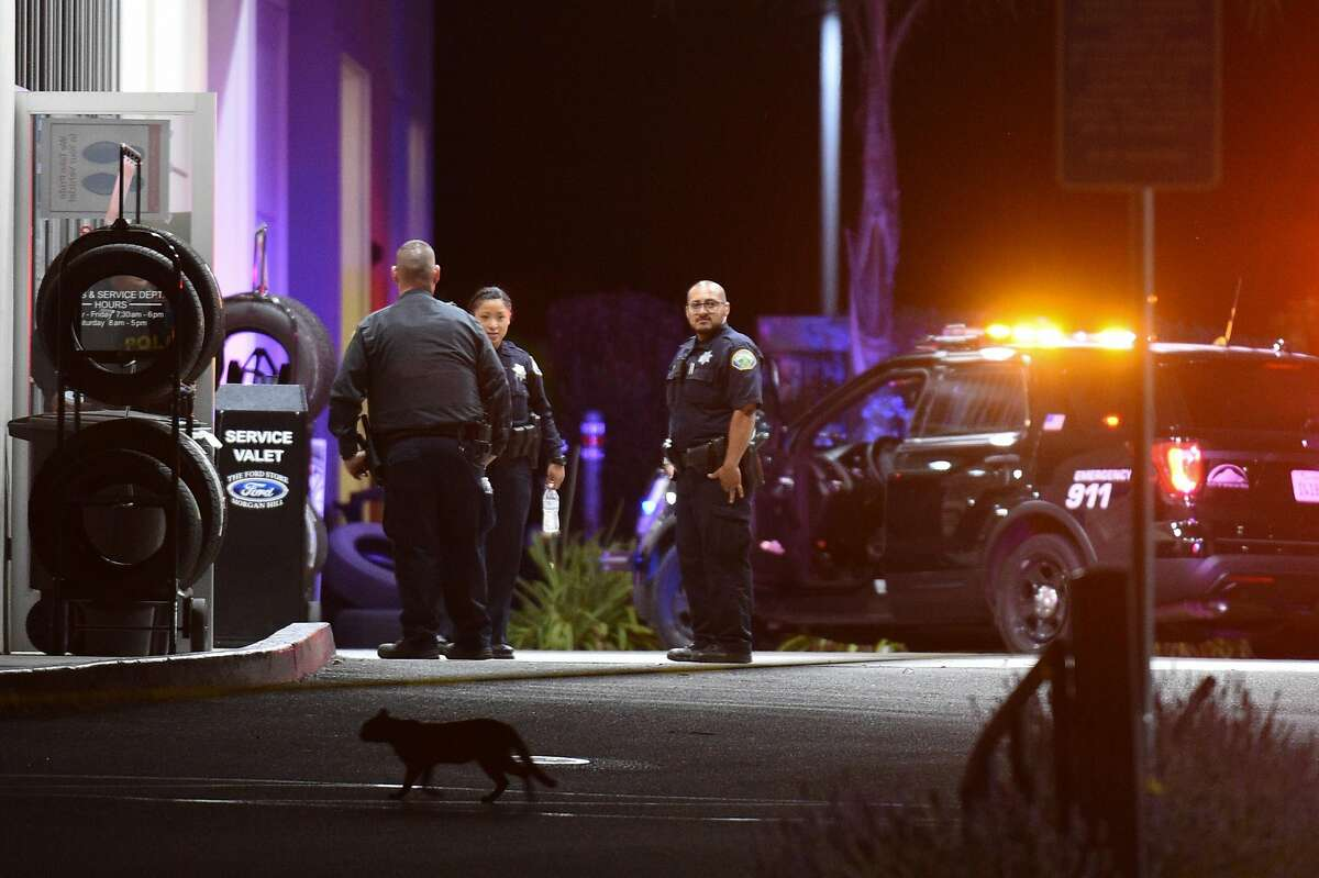 Police investigate a shooting at The Ford Store on Condit Road in Morgan Hill Tuesday June 25, 2019.