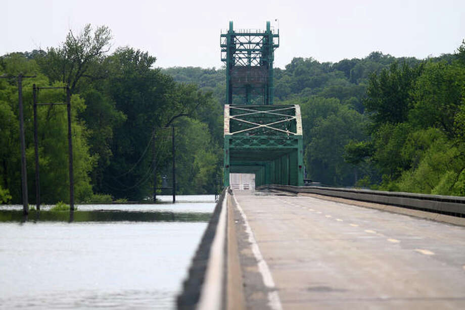 High water can be seen June 3 around the Florence Bridge. Photo: Rosalind Essig | Journal-Courier
