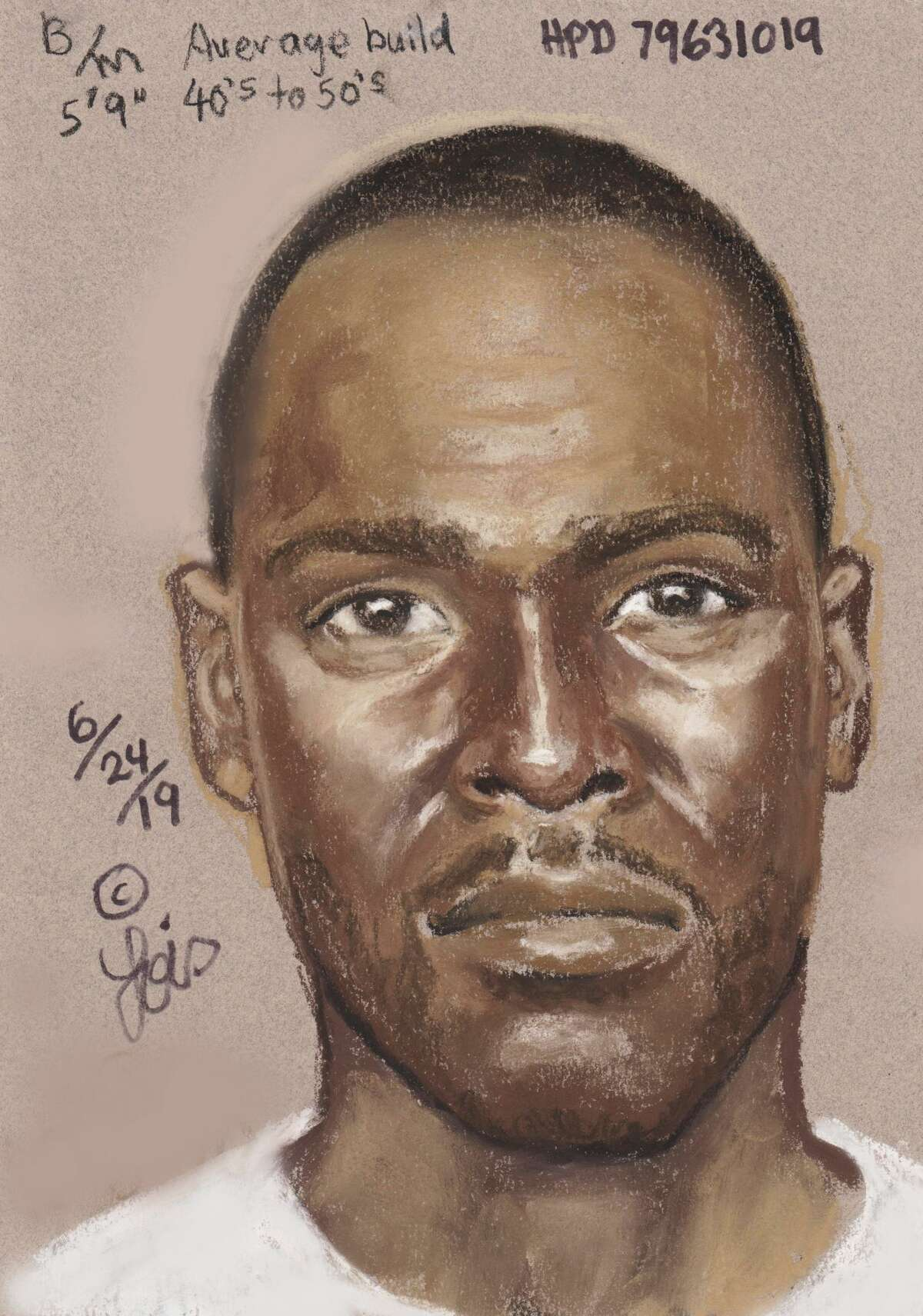 Houston police released this sketch of a man accused of fatally shooting Marlin Jordan, 26, and Maya Brashier, 19, during a robbery around 5:30 a.m. at their apartment in the 7400 block of Hillmont Street.
