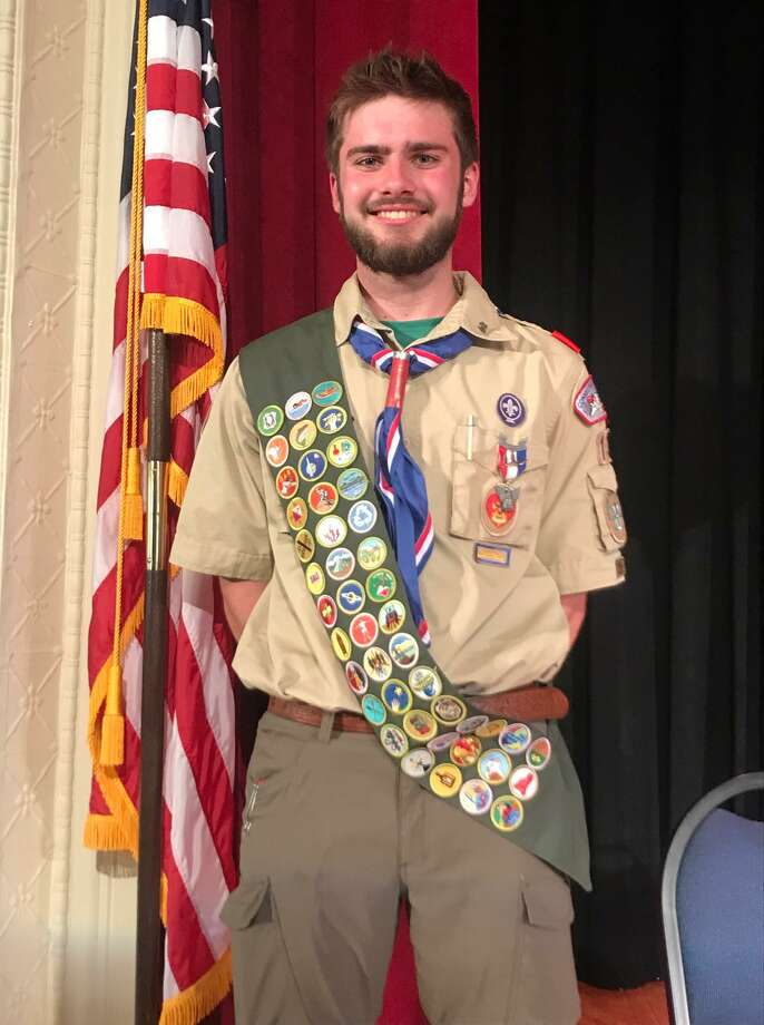Chester/Deep River Boy Scout Troop 13's newest Eagle Scout is Edward Lenz of Deep River. Photo: Michael Rutt Photo