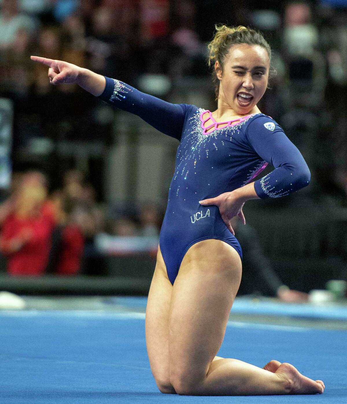 FILE - In this March 23, 2019, file photo, UCLA's Katelyn Ohashi competes on the floor, earning a 10, during the Pac-12 gymnastics championships in Salt Lake City. The former UCLA gymnast has committed to performing in the inaugural Aurora Games, an all-women's sports and entertainment festival. The Aurora Games will be held Aug. 20-25 in Albany, N.Y., and feature about 150 world-class athletes, including Olympic medalists and national champions.
