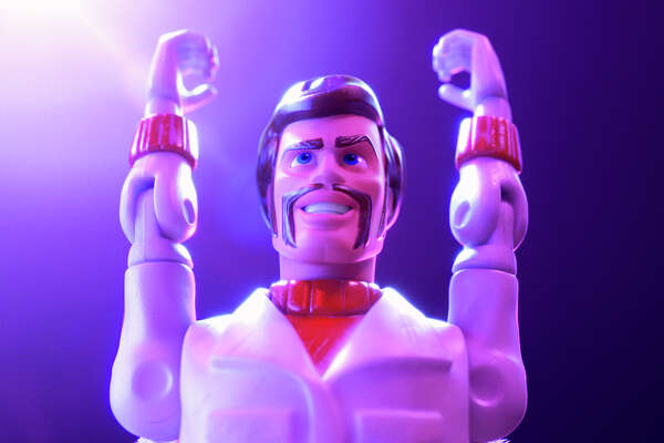 "Duke Caboom is voiced by Keanu Reeves in ""Toy Story 4."""