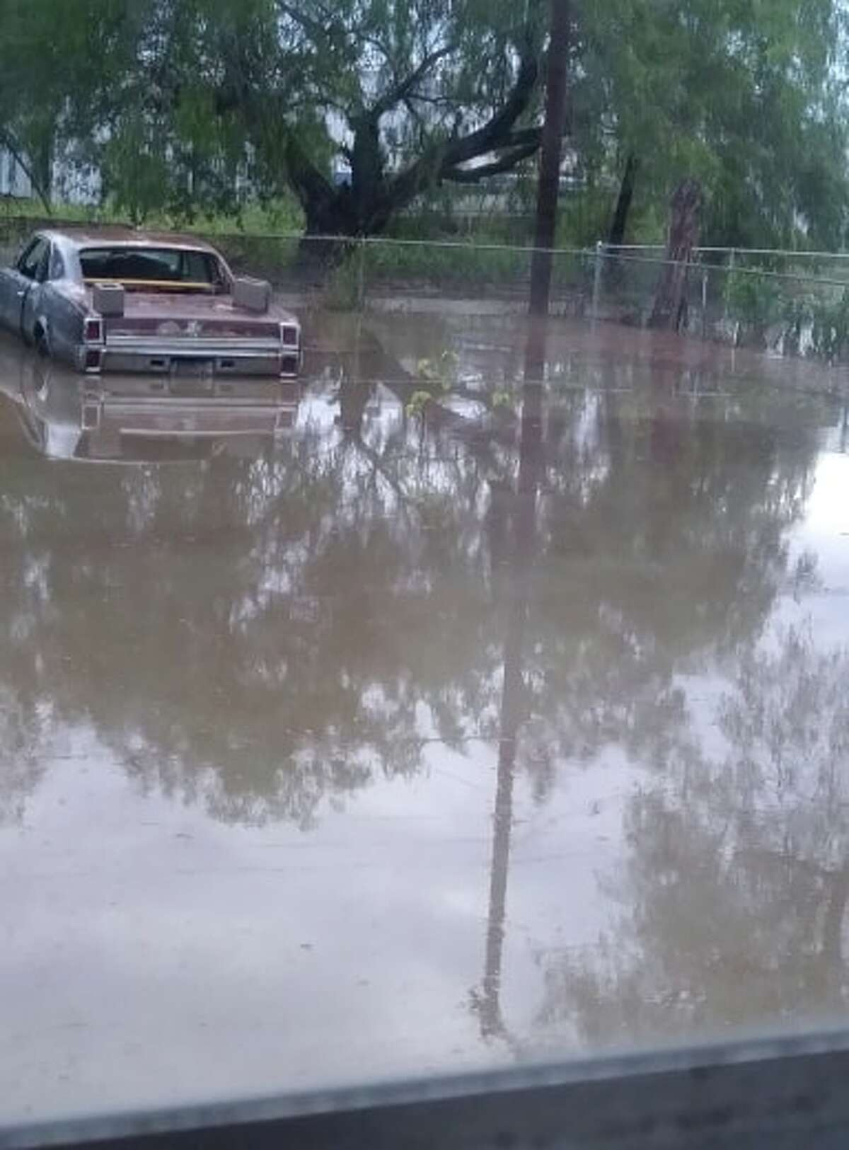 A photo of flooding in Raymondville, Texas after storms hit the area Monday night.