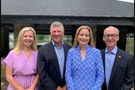 Board of Ed Chairman Tara Ochman, left, Dan Bumgardner, for Board of Finance, and Sarah Neumann and David Martin for Board of Selectmen are Darien Democrats' candidates for November 2019.