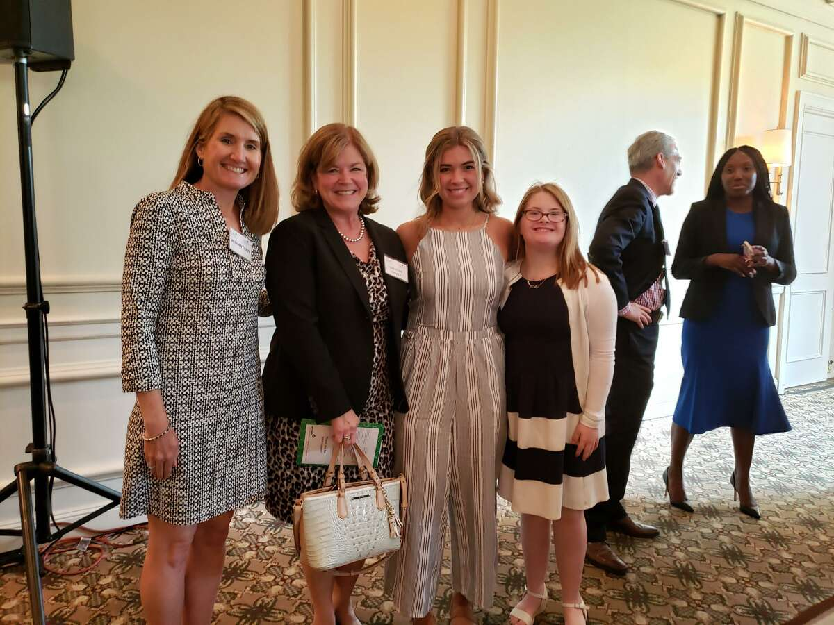 Girl Scouts and their mothers at the Legacy of Leadership Luncheon at the Woodway Country Club in Darien on June 5. From left Suzanne Cioffi, Girl Scout Gold Award recipient Molly Cioffi, Christine Chivily and Emma Chivily, all of New Canaan. - Sandra Diamond Fox photo