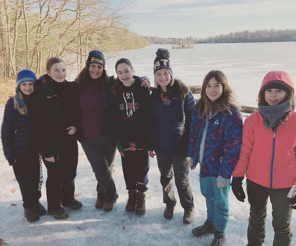 From left, Kate Johnson, Natalie Smith, me, Mattie Dickinson, Nadja Roeser, Lara Philip, Caera Cope at the Boy Scout winter campout.