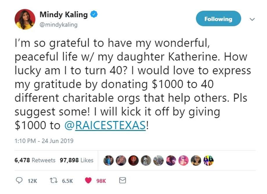 Mindy Kaling donated $1,000 to RAICES TEXAS to celebrate her 40th birthday. Photo: Twitter: @mindykaling