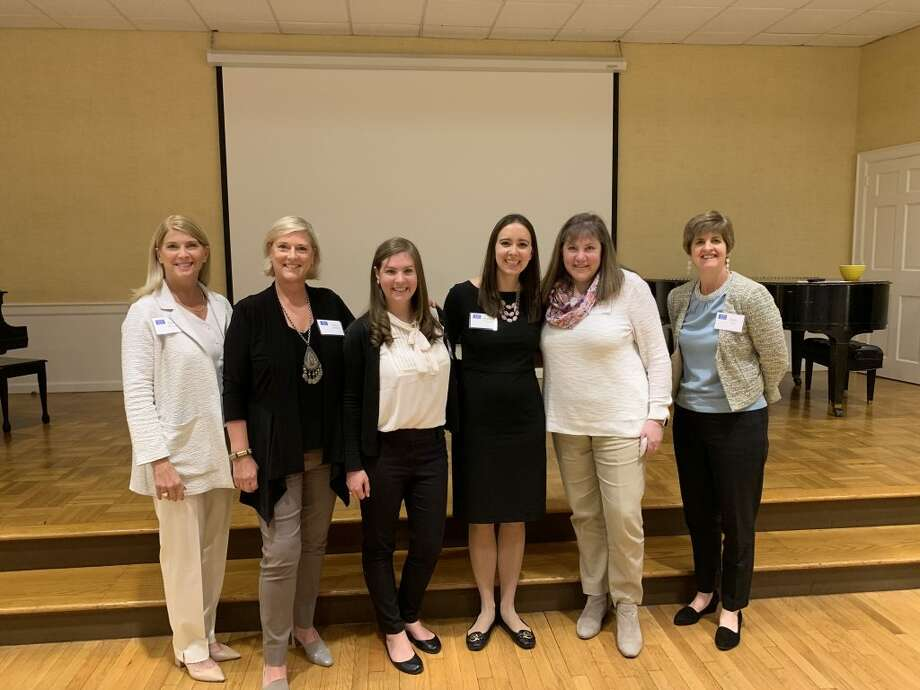 100 Who Care founders First Selectman Jayme Stevenson, left, Lulu McPhee, Katie Flynn, Sarah Paquet, Mary Flynn, and Amy Bell.