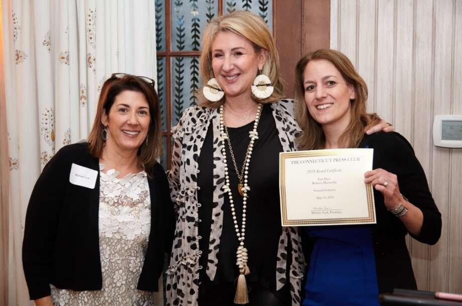 CT Press Club President Michele Turk, left, Author Jane Green, and Rebecca Martorella