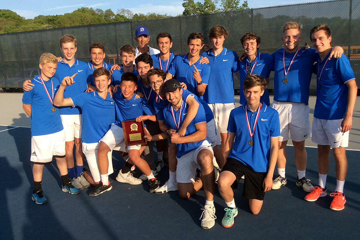 The Darien High School boys tennis team won the 2019 FCIAC title with a 4-2 win over defending champion Staples at Wilton High School on Wednesday, May 22, 2019. - David Fierro/Hearst Connecticut Media