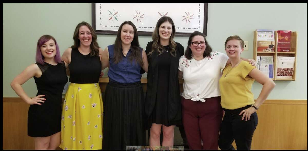 Some Darien Library staff members. The library is celebrating its 125th anniversary this year. From left, Anna Taylor, Mia Orobona, Elisabeth Marrocolla, Baily Ring, Samantha Cardone, Catherine Stricklan