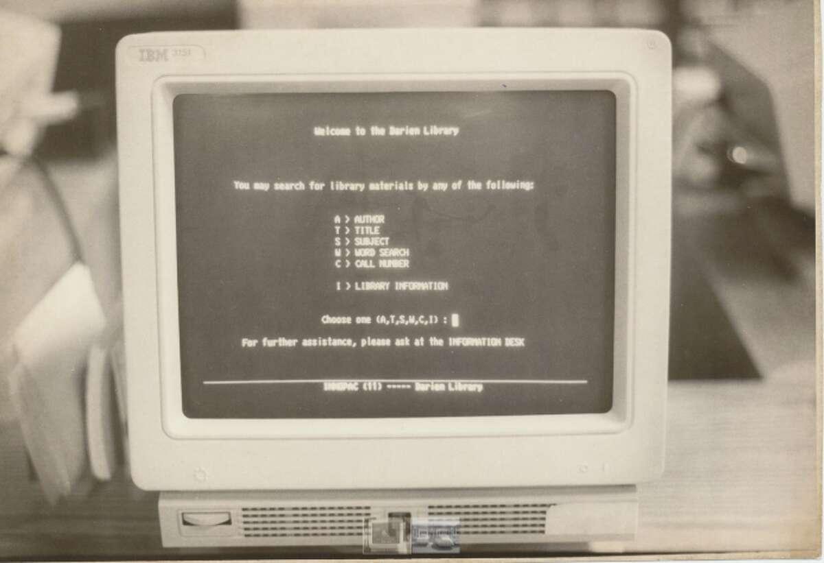 The Darien Library's computer catalog, 1992.