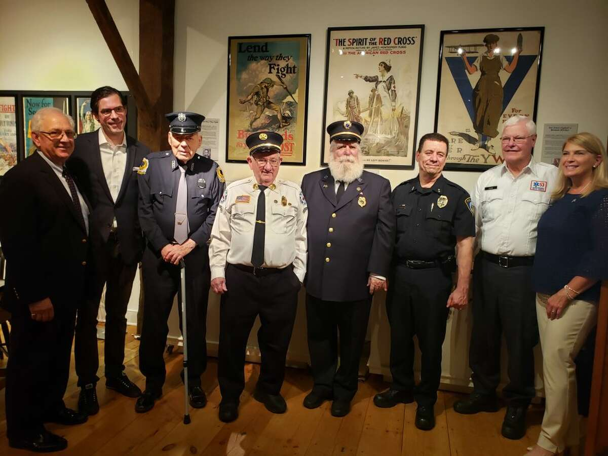 Some of Darien's first responders, along with First Selectman Jayme Stevenson, being honored on Saturday, May 18, at the Darien Historical Society. - Sandra Diamond Fox photo