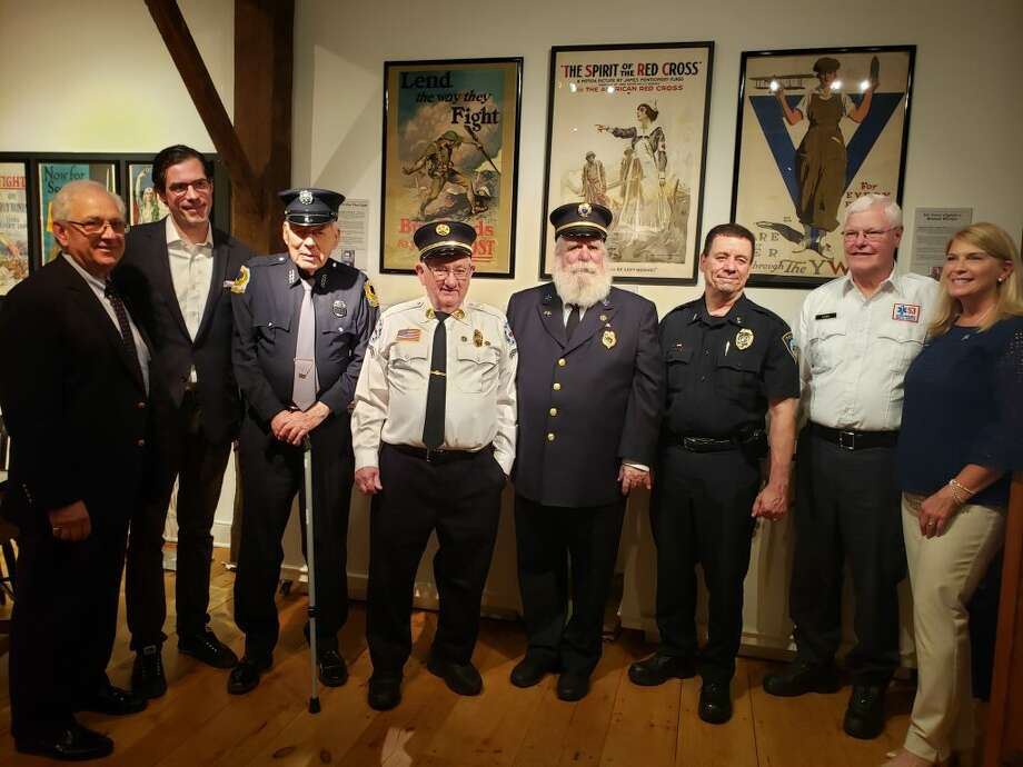 Some of Darien's first responders, along with First Selectman Jayme Stevenson, being honored on Saturday, May 18, at the Darien Historical Society. — Sandra Diamond Fox photo