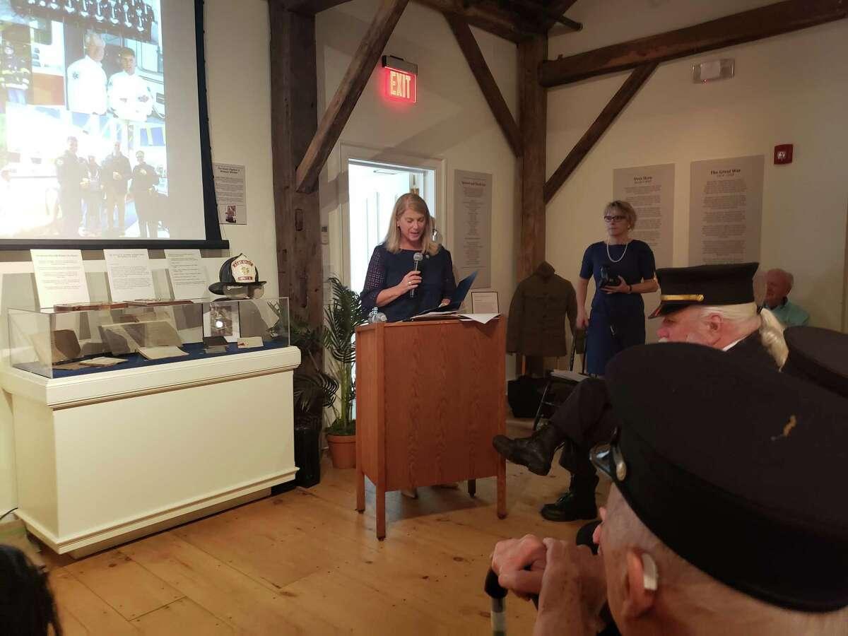 Darien First Selectman Jayme Stevenson speaking on May 18 at the Darien Historical Society - Sandra Diamond Fox photo
