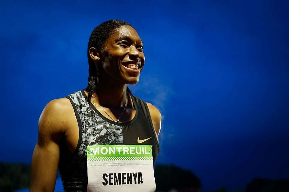 TOPSHOT - South African Caster Semenya reacts after winning in the women's 2000m race during the France's LNA (athletics national association) Pro Athle Tour meeting on June 11, 2019 at the Jean-Delbert stadium in Montreuil, a Paris neighbouring suburb. - The double 800m Olympic champion, who was racing for the first time since a controversial new gender ruling came into effect, finished in 5min 38.19sec ahead of Ethiopian pair Hawi Feysa and Adanech Anbesa. (Photo by GEOFFROY VAN DER HASSELT / AFP)GEOFFROY VAN DER HASSELT/AFP/Getty Images