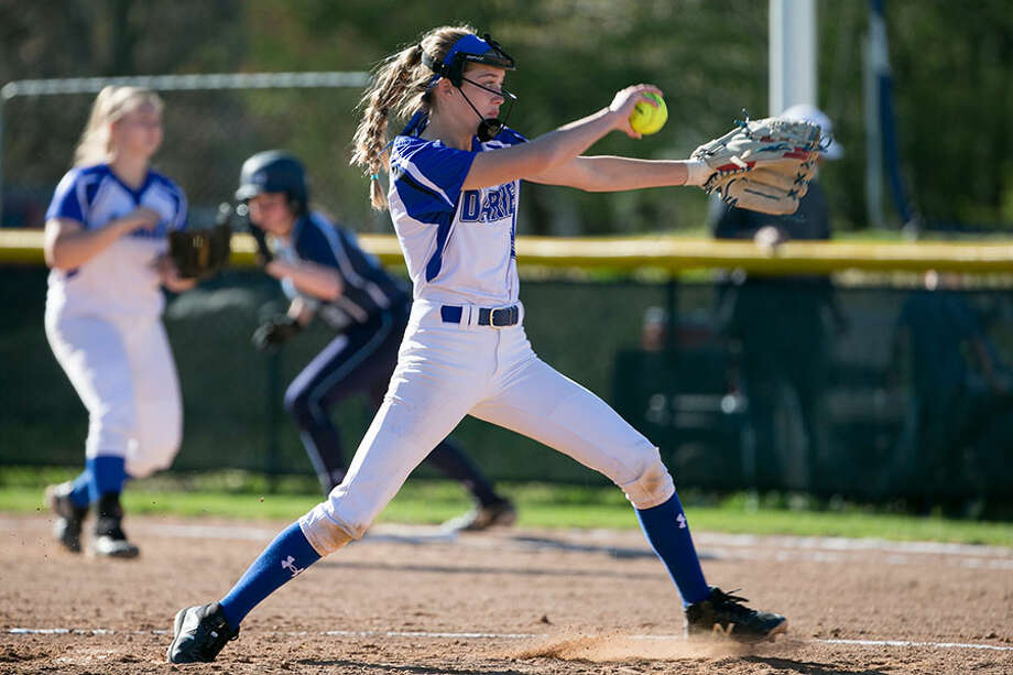 Darien's Kalle Halvorsen pitches during a game at Darien High School this spring. — Darien Athletic Foundation photo / ©2019 Darien Athletic Foundation