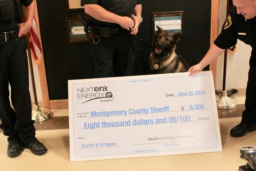 The Montgomery County Sheriff's office received a donation of $8,000 from NextEra Energy Resources on Tuesday, June 26, 2019, to buy a new dog for their K-9 program.