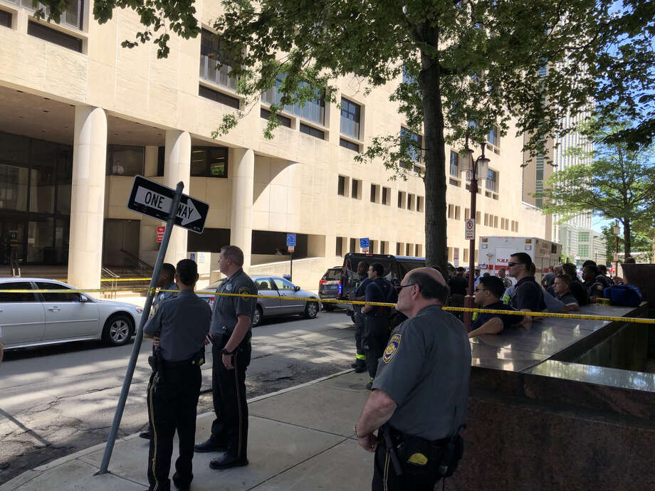 Authorities investigating a suspicious package downtown. Photo: Ben Lambert