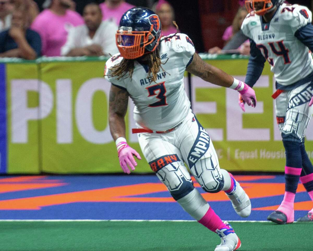 Jeramie Richardson, a fullback and linebacker on Albany's 2019 Arena Football League championship team, is returning to the Empire, after signing a contract Monday, July 19, 2021. (Jim Franco/Special to the Times Union.)