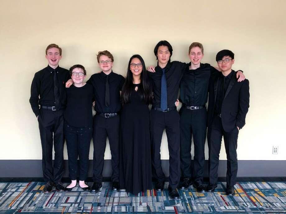 Pictured from left: Ryan Pratt (clarinet), Ollie Heimbauer (violin), Coleman Hoffner (viola), Stephanie Yee (clarinet), Ian Koh (cello), Matthew Brooks (trumpet) and Wujin Kim (cello).